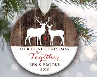 Our First Christmas Together Ornament Personalized Christmas Ornament Woodland Rustic Gift Faux Fake Wood Buck and Doe Deer Ornament OR497