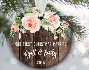 "Our First Christmas Married or Engaged, Blush floral rose Personalized Christmas Ornament Wedding and Engagement Gift, ""wood"" ornament OR795"