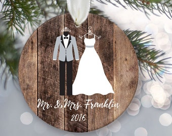 "Mr and Mrs Ornament with bride and groom attire on fake ""wood"". Personalized Christmas ornament for those Just Married Ornament OR575"