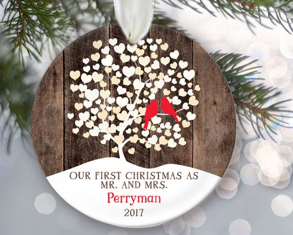 - Lovebirds Ornament Our First Christmas As Mr And Mrs Tree Etsy