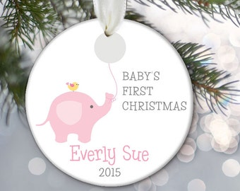 Baby's First Christmas Ornament, Elephant Baby ornament, Personalized Christmas Ornament, Baby shower gift, Baby Girl or Baby Boy OR535