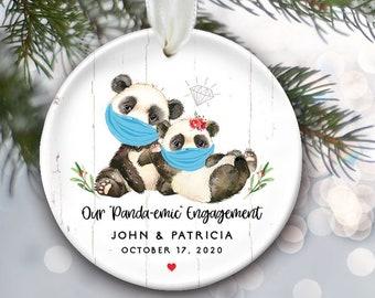 Panda-emic Engagement Ornament, Pandas with Masks or without, Personalized Christmas Ornament, Covid, 2020 Coronavirus, Quarantine OR058
