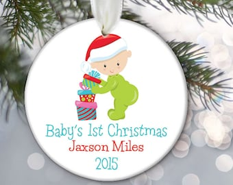 Personalized Baby Ornament, Baby's First Christmas Ornament, Christmas Baby Gift Baby Shower Gift New Baby boy or girl Newborn Gift OR595