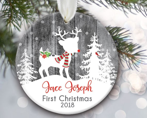 Babys First Christmas Ornament Deer Ornament Baby Boy Etsy