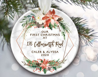 New Homeowner Gift, First Home Ornament or New Home, Personalized Christmas Ornament with Poinsettia, Housewarming Gift for new house OR090