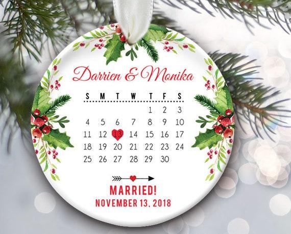 Premier Noël comme M /& Mme arbre de noël personnalisé en bois MDF Keepsake