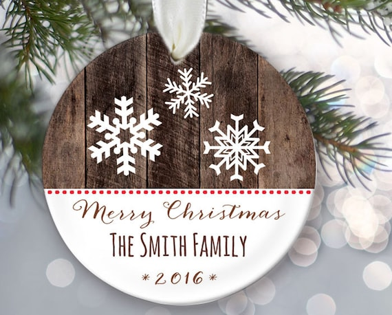 Snowflake personalized family ornament Personalized family name ornament Name /& Year OR557 Custom Christmas Ornament Faux wood