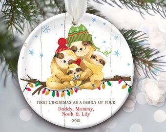 Sloth Family Ornament, Sloth Ornament, Personalized Christmas Ornament, Family of 3 or 4 or 5 or 6 or 7 or 8 Family Christmas Gift OR867