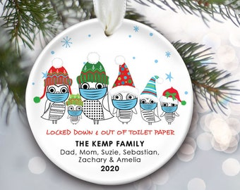 Pandemic Family Ornament, Owl Family of 3 of 4 or 5 or 6, Masks, Personalized Gift Covid, Coronavirus,  Qaurantine, Christmas Ornament OR057