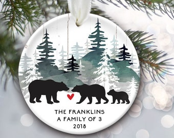 Personalized bear family ornament, Black Bear personalized Christmas ornament, Woodland Family of 3, 4, 5, 6, 7 Family Christmas Gift OR318