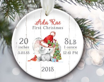 Elephant Baby stats ornament, Babys First Christmas Ornament Personalized Baby Boy Gift or Baby Girl Gift, Newborn keepsake OR617
