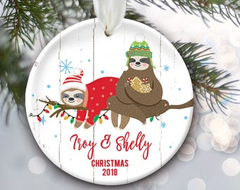 Sloth Couples Ornament, Sloth Ornament, Personalized Christmas Ornament, Sloth Gift, Kids Ornament Together Ornament, Engaged, Married OR869
