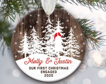 Lovebirds ornament, Snow covered Christmas trees ornament, Our First Christmas Married Ornament, Engaged Ornament, Together ornament OR997