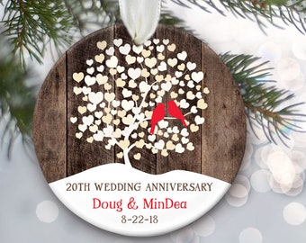 """Personalized Christmas Ornament for wedding anniversary gift, Rustic """"Wood"""" Wedding Tree Ornament, Lovebirds Ornament, 5th 10 25 40 50 OR857"""