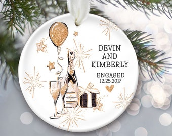 Engagement Gift for Engaged Couple, Personalized Christmas Ornament, Engagement Ornament, Champagne flutes and fake glitter OR463