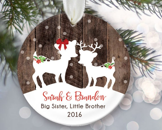 Big Sister Little Brother Christmas Ornament, Personalized Christmas  Ornaments, Fawns Ornament, Deer Ornament, Rustic faux fake wood OR064 - Big Sister Little Brother Christmas Ornament Personalized Etsy