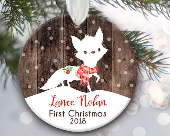 Kids Ornament Fox Christmas Ornament Personalized Christmas Ornament,Stocking Stuffer Baby Boy Gift Boy Christmas Ornament Fox Ornament