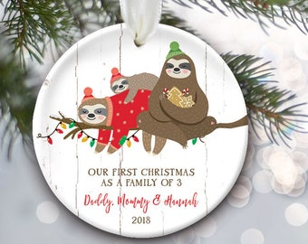 Our First Christmas as Mommy & Daddy Sloth Personalized Christmas Ornament New Parents Ornament Sloth Family Ornament Family of 3 Gift OR862