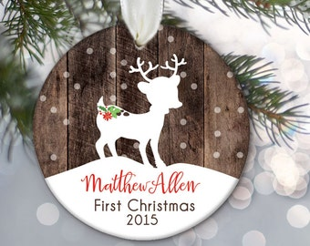Personalized Baby's First Christmas Ornament, Babys 1st Christmas Ornament, Deer Ornament, Fawn Ornament, Doe Ornament, faux fake wood OR373