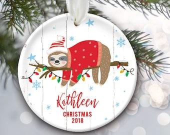 Sloth Christmas Ornament, Personalized Kids Christmas Ornament, Sloth Ornament for her or him, Child Christmas Gift, Sloth Gift OR865