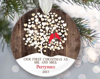 """Love birds First Christmas as Mr and Mrs Ornament, Personalized Christmas Ornament Rustic faux """"wood"""" Wedding Tree Ornament Lovebirds OR856"""