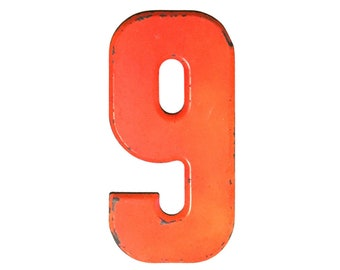 """7 1/2"""" Vintage Metal Number 9 Orange - Marquee Signage - Number Sign - Birthday Numbers  - Kid's Party Decor Sports House Address Outdoor -"""