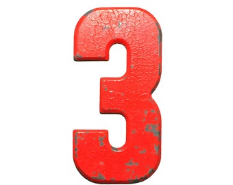 """7 1/2"""" Vintage Metal Number 3 Red/Orange - Marquee Signage Sign - Sports Wedding Birthday Numbers  Kid's Party Decor House Address Outdoor"""