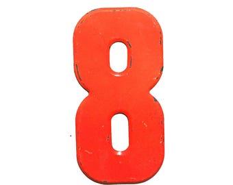 """7 1/2"""" Vintage Metal Number 8 - Marquee Signage - Number Sign - Birthday Numbers - Vintage Metal 8 - Kid's Party Decor"""