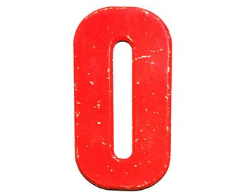 """7 1/2"""" Vintage Metal Letter O or Number 0 Red - Marquee Signage Letter Sign Monogram Initial - Kid's Birthday Over The Hill - House Numbers"""