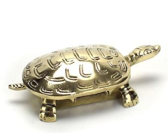 Vintage Brass Turtle Jewelry Trinket Box - Gold Tortoise Container - Turtle Figurine Secret Box - Mid Century - Hollywood Regency Decor