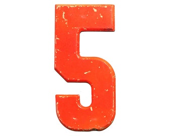 """7 1/2"""" Vintage Metal Number 5 Red/Orange - Marquee Signage Sign - Wedding Birthday Numbers Kid's Party Decor Sports House Address Outdoor"""
