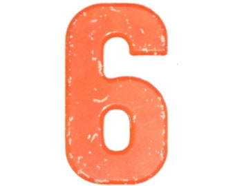 """7 1/2"""" Vintage Metal Number 6 - Orange Marquee Signage Number Six Sign Birthday Numbers - House Number Outdoor - Kid's Party Decor Sports"""