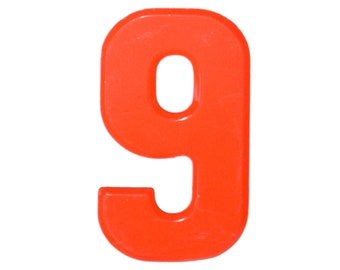 """7 1/2"""" Vintage Metal Number 9 red/Orange - Marquee Signage Nine Sign - Birthday Numbers   Kid's Party Decor Sports House Address Outdoor -"""