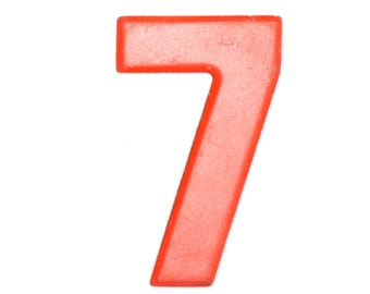 """7 1/2"""" Vintage Metal Number 7 Orange - Marquee Signage Sign - Wedding Birthday Numbers Kid's Party Decor Sports House Address Outdoor"""