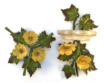 Vintage Italian Tole Wall Sconce & Vase Holder Yellow Poppies White Green Wildflowers - Hollywood Regency French Cottage Chic Rustic Flowers