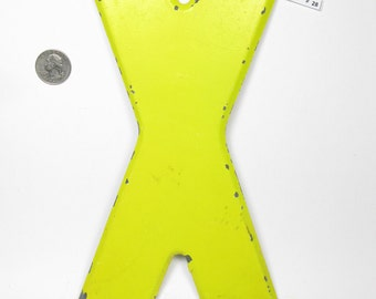 """10"""" Vintage Metal Letter  X - Marquee Signage - Letter Sign - Monogram Initial - Yellow Letter"""