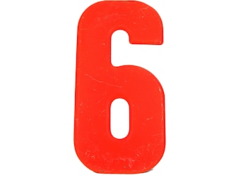 """7 1/2"""" Vintage Metal Number 6 - Red Orange Marquee Signage Number Six Sign Birthday Numbers - House Number Outdoor Kid's Party Decor Sports"""