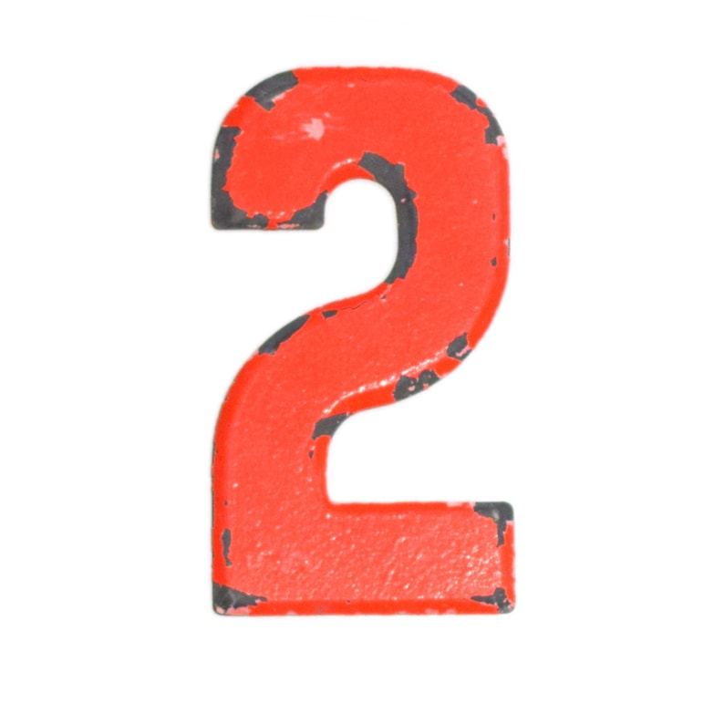 7 1 2 Vintage Metal Number Red Orange Marquee