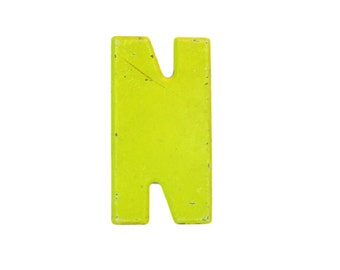 """7 1/2"""" Vintage Metal Letter N - Marquee Signage - Letter Sign - Monogram Initial - Yellow Letter"""