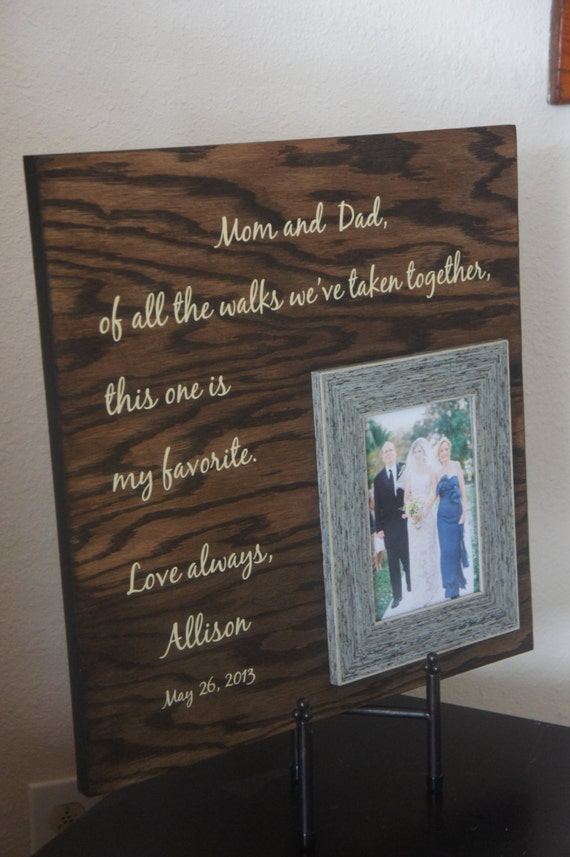 Wedding Gift For Parents Mom And Dad Brides Favorite Walk Etsy