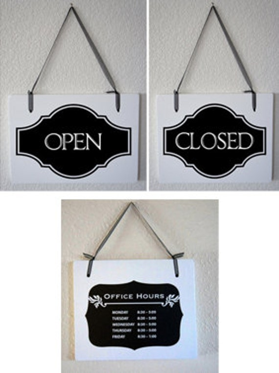 business signs open closed hanging solid wood signage set  2