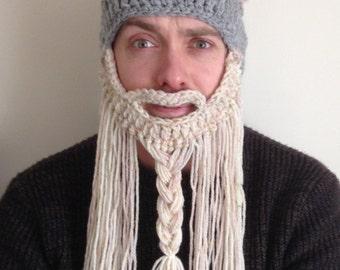 Hand made Viking hat and beard- Viking helmet- fancy dress - stag