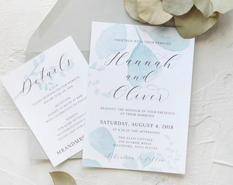 25 - Eucalyptus Abstract Leaf watercolour painted Wedding Invitation