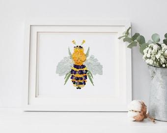 8x10 Art Print, Pressed flower botanical BEE design, spiritual bee guide, digital print