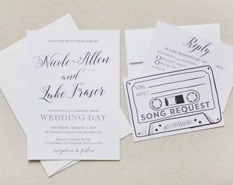 25 - Retro Cassette Tape Song Request Printed Invitation