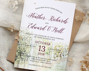 25 - Vineyard watercolour painted Wedding Invitation