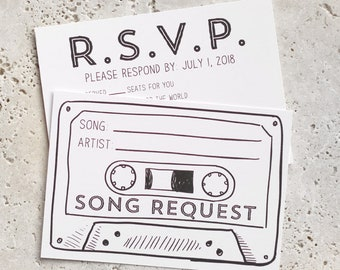 50 - Printed Cassette Tape Song Request RSVP Cards, customized with your wedding RSVP date