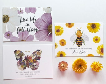 Set of 3 Pressed Flower Art Postcards - Blossoms, Bee and Butterfly