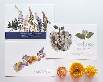 Set of 3 Nova Scotia Theme Pressed Flower Art Postcards - NS Flowers, Apple Blossom and  Wild Lupins
