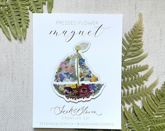 Pressed Flower Sail boat Magnet Design 3 inches
